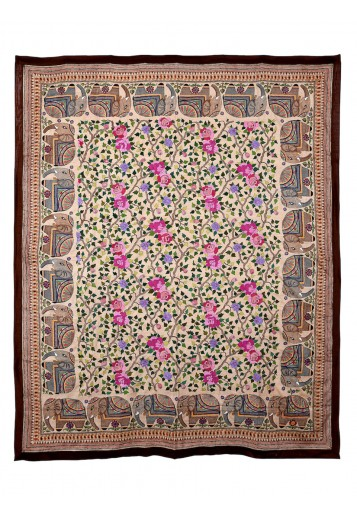 Cream tussar, Rose jaal with elephant border