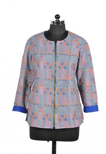 Biker Style Kantha Embroidered Jacket