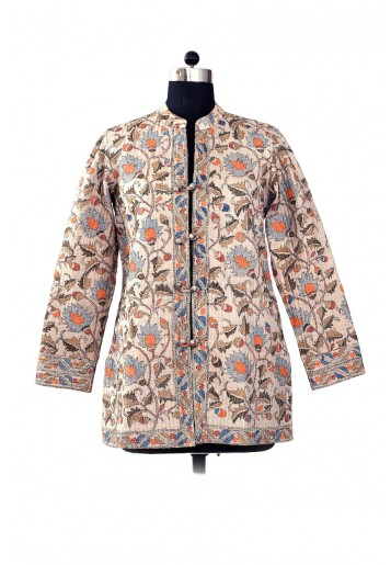 Reversible , Emroidered Jacket with printed cotton fabric