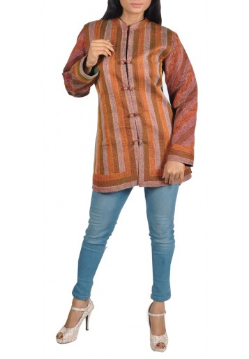 Reversible, Kantha Embroidered Silk Jacket